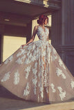 A-line Wedding Dresses,Long Wedding Dress,Appliques Wedding Gown
