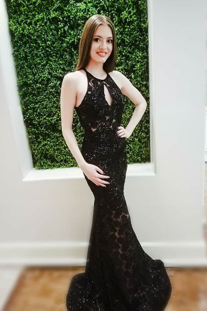 Sexy Prom Dresses,Black Prom Gown,Lace Prom Dress,Mermaid Prom Dress