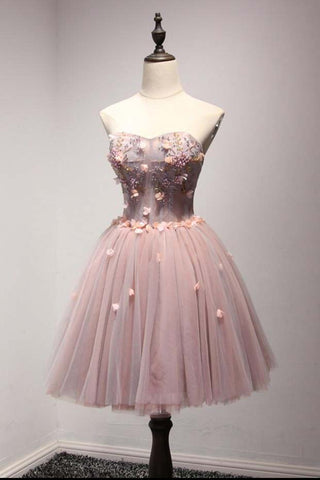 Cheap Homecoming Dress,Sweetheart Homecoming Dresses,Short Homecoming Dresses,Tulle Prom Dresses,A-Line Homecoming Dresses,Ball Gown Prom Dresses,Flowers Prom Dress