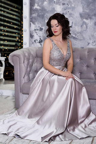 Sparkly Prom Dresses,Beading Prom Gown,A Line Prom Dress,V Neck Prom Dress,Backless Prom Dress