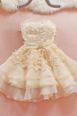 Cute Homecoming Dress,A-Line Homecoming Dress,Short Prom Dresses,Sweetheart Homecoming Dresses,Lace Prom Dress,Strapless Prom Dresses,Summer Prom Dresses,Prom Dresses for Girls