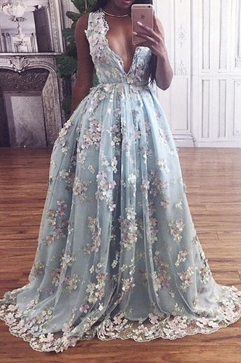 Lace Prom Dresses,Deep V-neck Prom Gown,Sky Blue Prom Dress,Princess Prom Dress