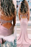 Elegant Spaghetti Straps Mermaid Beaded Pink Long Prom Dress OKU9