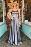 Grey Prom Dresses,Spaghetti Straps Prom Gown,Sexy Back Prom Dress,Simple Prom Dress
