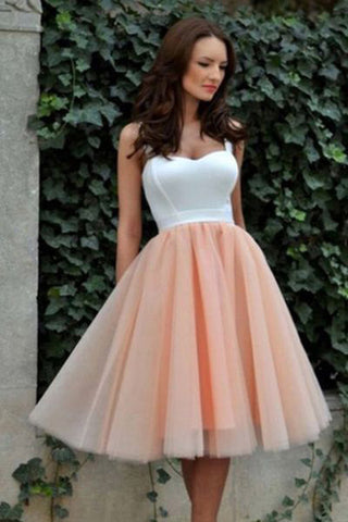 Lovely Prom Dress,Spaghetti Straps Prom Dress,Short Homecoming Dress,White Top Prom Dresses,Tulle Prom Gown,Blush Pink Prom Dress