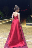 Red A-Line Long Prom Dress,Simple Satin Evening Dress OK650