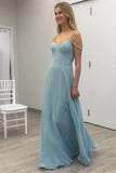 Sexy Prom Dress,blue prom dress,chiffon prom dress,long Prom Gown,simple evening dress,sleeveless evening gown