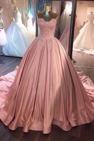 c0f7db3e571 Pink Sweetheart Lace Long Ball Gown Prom Dress