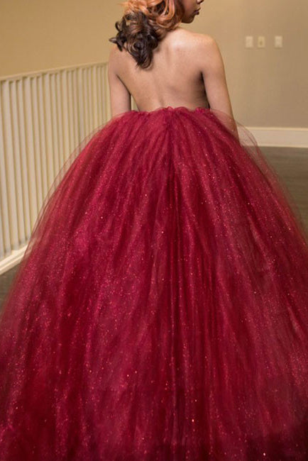 Princess Ball Gown High Neck Backless Burgundy Tulle Long Prom Dress OK604