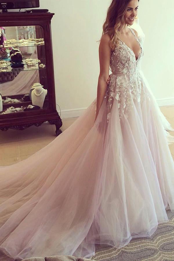 Spaghetti Straps Wedding Dresses,V-neck Wedding Dress,Long Wedding Gown,Appliques Prom Dresses,Pink Prom Dress,A-line Prom Gown,Tulle Prom Dress