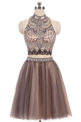 Beading Homecoming Dresses,Two Piece Homecoming Dress,Junior Homecoming Dresses,Short Homecoming Dresses,A Line Prom Dress,Tulle Prom Dresses,Open Back Homecoming Dress