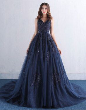 A Line Prom Dresses,Appliques Prom Dress,Tulle Prom Dresses,Long Prom Dress