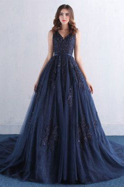 Dark Blue Prom Dresses,V Neck Prom Dress
