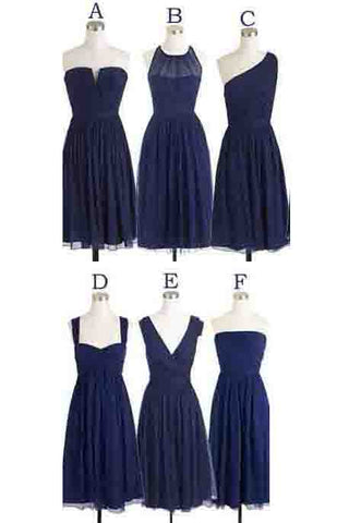 Short Bridesmaid Dresses,Navy Blue Bridesmaid Dress,Chiffon Bridesmaid Dress,Simple Bridesmaid Dresses,Cheap Bridesmaid Dress