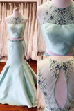 Long Prom Dresses,Two Piece Prom Dress,Mermaid Prom Dresses,Satin Prom Dresses,Mint Prom Dresses,Backless Prom Gown,Beading Evening Dresses