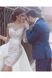 Luxurious Sheath Sweetheart Tulle Lace High Low Wedding Dresses OK854