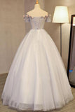 Grey Long Applique Off the Shoulder Tulle A-Line Prom Dress OK875