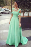 Mint Prom Dresses,Off Shoulder Prom Gown,Satin Prom Dress,Long Prom Dresses