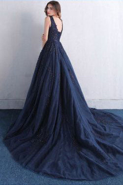 Dark Blue V Neck A Line Appliques Tulle Long Prom Dress OK820