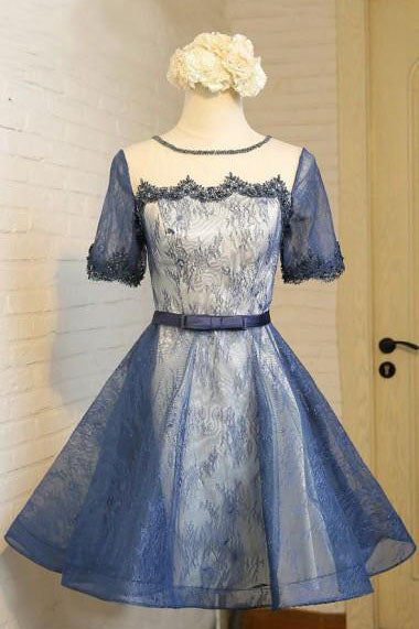 Vintage Homecoming Dress,A line Homecoming Dress,Crew Prom Dresses,Short Prom Dress,Short Sleeves Homecoming Dress,Navy Blue Homecoming Dress