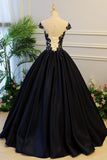 Generous Puffy A-Line Cap Sleeves Lace-up Black Satin Long Prom Dress with Appliques OK782