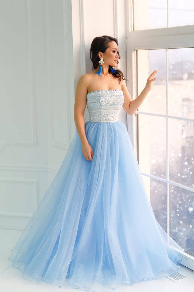Princess Prom Dresses,Strapless Prom Gown,Sky Blue Prom Dress,Tulle Prom Dress