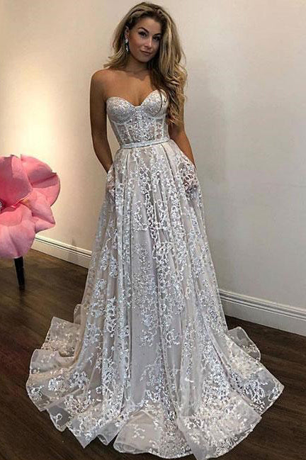 Off White Sweetheart Lace Long Wedding Dress,Charming Prom Dresses OKA96