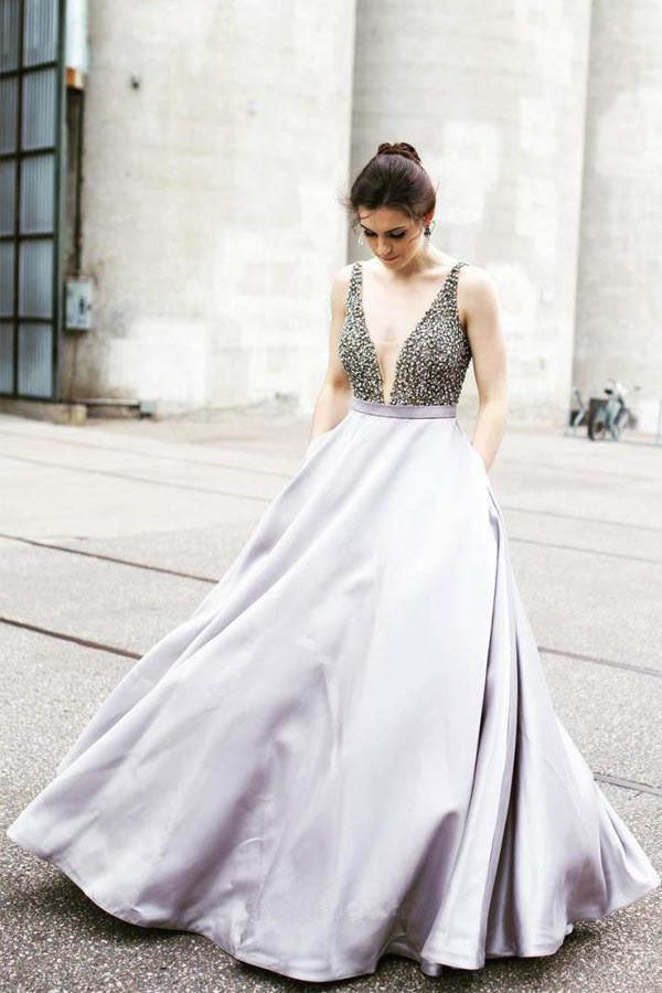 Sexy Prom Dress,Deep V Neck Prom Dresses,Beading Prom Dress,Prom Dress With Pockets,Split Prom Dress,Long Evening Dress