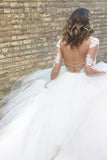 Romantic Ball Gown Long Sleeves Appliques Ivory Tulle Wedding Dress Bridal Gown OK888