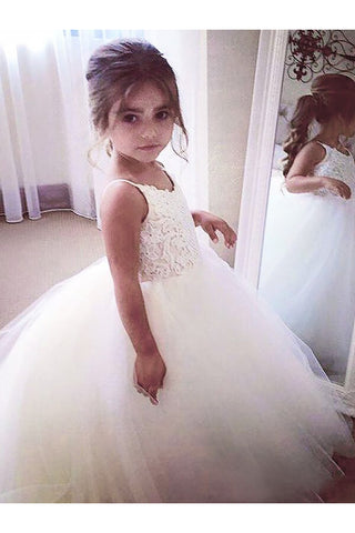 Ball Gown Flower Girl Dress,Lace Flower Girl Dresses,Tulle Flower Girl Dress