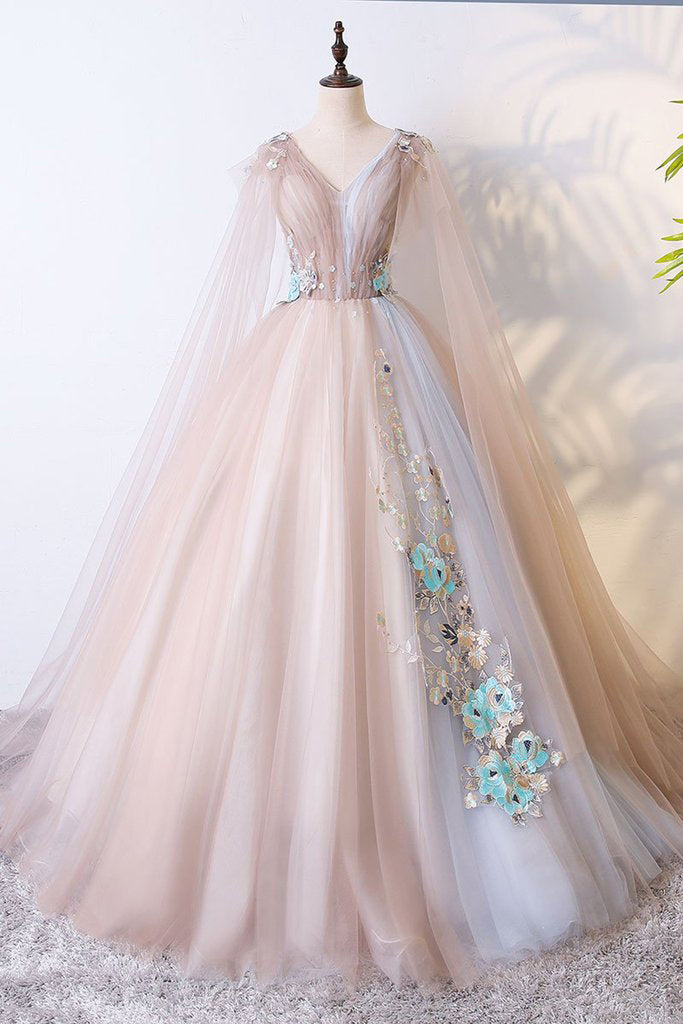 Romantic Prom Dresses,Tulle Prom Gown,Lace Appliques Prom Dress,Senior Prom Dress
