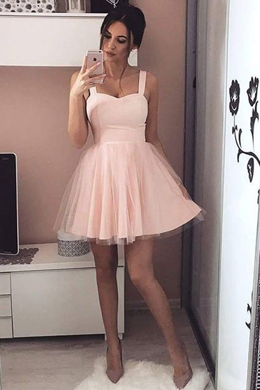 Charming Homecoming Dresses,Sweetheart Homecoming Dresses,Short Prom Dresses,Straps Homecoming Dresses,Blush Pink Homecoming Dresses