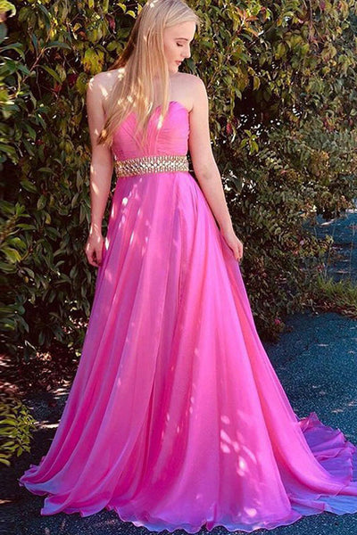 A-Line Sweetheart Sweep Train Fuchsia Chiffon Prom Dress with Beading Ruched OKQ68
