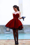 Chic Homecoming Dresses,Sweetheart Homecoming Dress,Burgundy Homecoming Dresses,Short Prom Dresses,A Line Prom Dress
