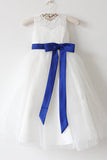 Light Ivory Lace Tulle Flower Girl Dress With Royal Blue Sash/Bows Sleeveless Floor-length OK215