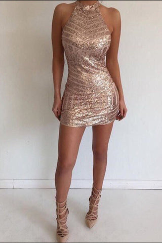 Sexy Mini Halter Sleeveless Backless Tight Rose Gold Homecoming Dress with Sequins OKA80
