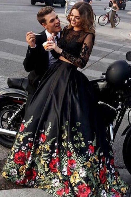 Two Piece Prom Dresses,Floral Prom Gown,Black Prom Dress,Long Sleeves Prom Dress