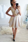A-Line V-Neck Mini Cheap Homecoming Dress with Beading,Sweet 16 Dresses OKB83