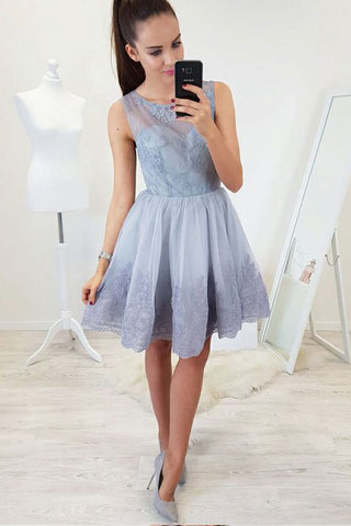 A-Line Round Neck Open Back Short Blue Homecoming Dress with Lace Appliques OKB82