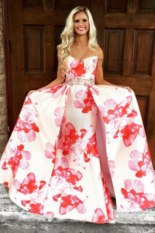 A-Line Sweetheart Floral Printed Pink Satin Prom Dress with Beading ...