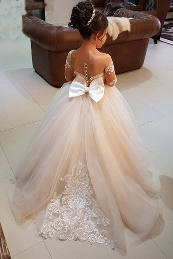 Princess Ball Gown Long Sleeves Tulle Long Flower Girl Dress with Lace Appliques