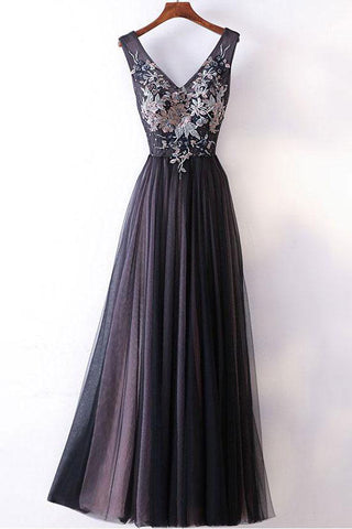 Elegant A-line V-neck Lace Appliqued Lace Up Long Prom Dresses Evening Gowns OKA84