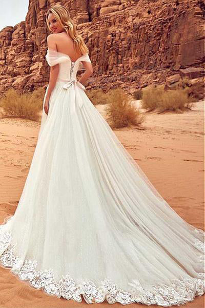 Elegant Off-the-Shoulder Sweep Train A-Line Tulle Ivory Appliques Wedding Dress OK771