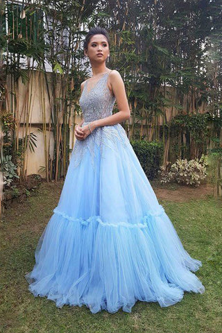 Sky Blue A Line Tulle V Neck Long Prom Gown,Sweet 16 Dress OKB25