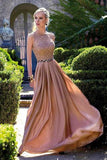 Coral Long Chiffon Lace Floor-length Round Prom Dresses With Beads OK783