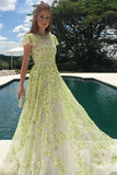 A-Line Lace Cap Sleeves Daffodil Tulle Long Prom Dress with Appliques OKE46