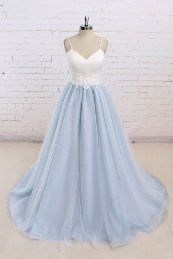 Long Prom Dresses,Baby Blue Prom Dress,Simple Prom Dresses,Senior Prom Dress,White Top Prom Dresses,Tulle Evening Dress,A Line Prom Dresses