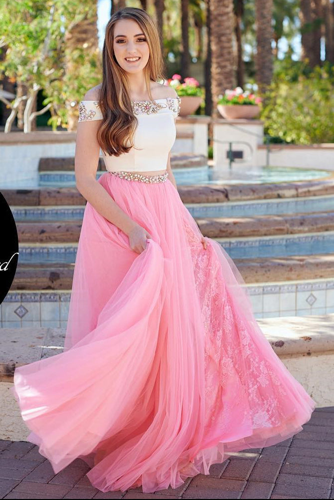 Two Piece Prom Dresses,Beading Prom Gown,Off the Shoulder Prom Dress,Pink Prom Dress,Blue  Prom Dress