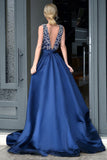 Glamorous A-Line Deep V-Neck  Royal Blue Long Beading Prom Dresses With Sweep Train OK814