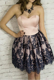 Cute Sweetheart Short Lace Pink A Line Homecoming Dress Party Dresses OKA88